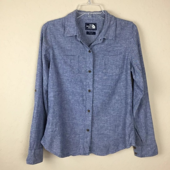 The North Face Tops - The North Face Chambray Blue Denim Button Up